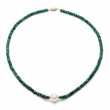Pearl Necklace 14k Yellow Gold 4mm Green Emerald 9-10mm White Freshwater