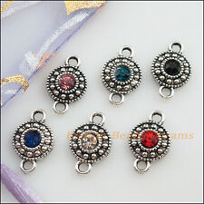 6Pcs Tibetan Silver Mixed Crystal Round Charms Pendants Connectors 11x18mm