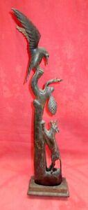 Old Rare Vintage Hand Carved Nest Bird Horn Statue Jackal Horn Statue Primitive