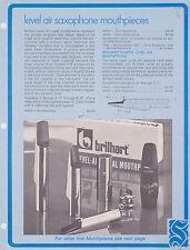 1973 AD SHEET #2566 - SELMER MUSICAL INSTRUMENT - LEVEL AIR SAX MOUTHPIECES