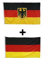 Deutschland Fahne Flagge Set  mit Adler und ohne Adler 2x  90 X 150 cm mit Ösen