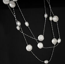 "46""long natural white rice coin pearl metal chain gem necklace fashion jewelry"