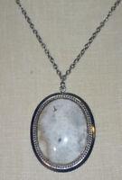White Black Gray Beige Agate Stone Silver Tone Pendant Necklace Vintage