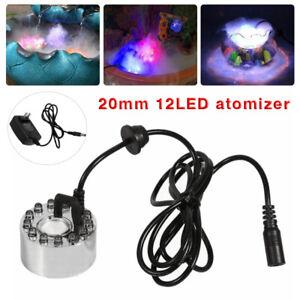 12 LED Ultrasonic Mist Maker Light Fogger Water Fountain Pond +24V Power Adapter