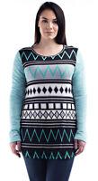 H&H THREADS Womens Mint Black Chic Tunic Long Sleeve Top Blouse Plus 1X 2X 3X