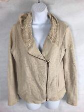 Lucky Brand Women's Beige Zip-Front Sweater Jacket Size L hooded pocket