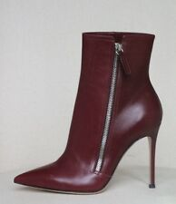 GIANVITO ROSSI BURGUNDY POINTED LEATHER ANKLE BOOTS EU 37.5 UK 4.5 US 7.5