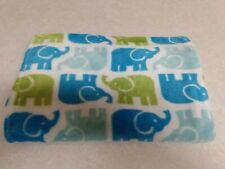 "Adirondack Baby Blanket Elephants Blue Green White Luxe Velour 40 × 30"" ~"