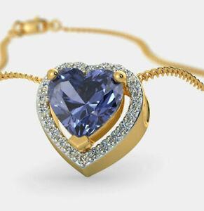 0.52ct Natural Round Diamond 14K YellowGold Sapphire Anniversary Wedding Pendant