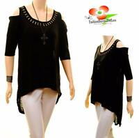 PLUS Size Open Cold Shoulder Studs 3/4 Sleeve Jersey Tunic Shirt Top 1X 2X 3X