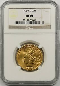 1910-S $10 NGC MS 61 Indian Head Gold Eagle