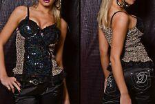 SeXy MiSS Damen Corsagen Look Top Glam Pailletten print 36/38/40 Leopard braun