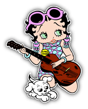 Betty Boop Guitar Cartoon Music Car Bumper Sticker Decal 4'' x 5''