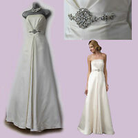 MONSOON Ivory Satin Embellished Waist Strapless Wedding Maxi Dress size 12