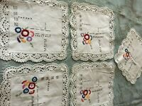 Five Beautiful Vintage Hand-Embroidered Napkins
