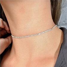 Damen Halsband Kropfband Collier Choker Halskette Schmuck Strass Silber Gold GUT