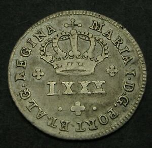 PORTUGAL 80 Reis ND(1786) - Silver - Maria I. - F - 1532