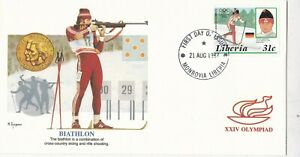 Liberia 1987 Biathlon Olympic Games FDC Monrovia cancel VGC unaddressed