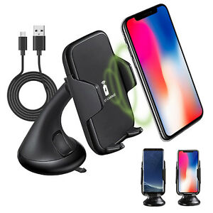 Qi Wireless Car Charger Phone Holder Mount For iPhone X,8+,8, Galaxy Note 8, S8+