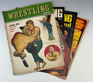 Vintage lot of 4 Misc Wrestling Mags Yukon Eric Andre Funk Sheik Pedro Butcher