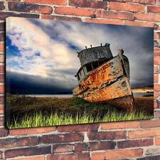 """Shipwreck"" Nautical Printed Canvas Picture A1.30""x20""30mm Deep Boat, Sea, Ocean"