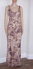 BADGLEY MISCHKA 100% Silk Beaded & Flocked Sleeveless Gown w/Train SZ 8 $4750.