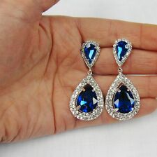 Royal Blue Rhinestone Crystal Dangle Earrings # 5369 Wedding Prom Dance Bridal