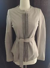 LIU JO GREY PEARL LEATHER JACKET SIZE 40 . Gorgeous Very Soft Leather , Spring