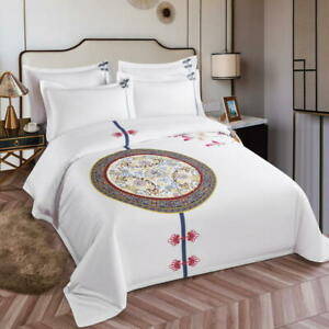Chinese bedding set 4pcs Chinese hotel linen style quilt cover flat sheet set