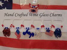 """"""" 4TH OF JULY""""/ USA HAND CRAFTED SET OF 6  WINE GLASS CHARMS PLUS 1 FREE ONE"""