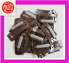 20 X SNAP CLIPS FOR HAIR EXTENSIONS / WIGS in DARK BROWN