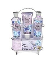 Floral Breeze 6-Piece Secret Gardens Bath and Body Gift Set with Shower Caddy