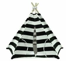 Dog Cat Animal Pet Teepee Tent - Cotton Canvas Black & White Fabric w/ Poles T