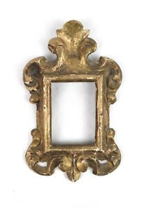 Antique Baroque Style Wood Carved Gold Paint Small Picture Frame Fits 3.25x2.25