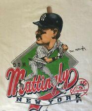 NY Yankees Don Mattingly Caricature White Unisex All size T-shirt AC299