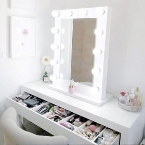 NICHES USB Port White Frame Make Up Vanity Cosmetic Mirror includes LED Lights