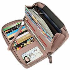 Lavemi Women's RFID Blocking Real Leather Zip Around Wallet Clutch Large Travel
