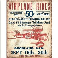 """New """"Airplane Rides 50 Cents"""" Advertising Metal Sign, Wall Art Man Cave Decor"""