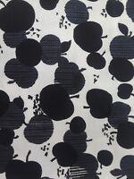 "Vtg Black and White Apple Pumpkin Fruit Print Fabric John Wolf Textiles 3' X 59"""