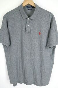 Polo Ralph Lauren Mens sz XL Grey Classic Fit Short Sleeve Shirt Red Pony