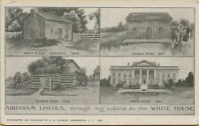 Multi-View Abraham Lincoln Log Cabins to White House Homes Postcard D12