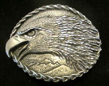 Vintage Eagle Head over Mountains Belt Buckle signed EGE 1993 Pewter Diamond Cut