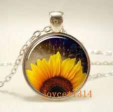 Vintage Sunflower Cabochon Tibetan silver Glass Chain Pendant Necklace #467
