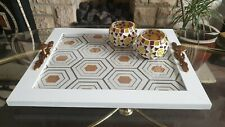 White Rectangular MDF Wooden Serving / Decorative / Breakfast Tray with Handle