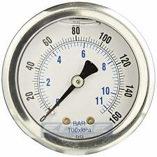 "LIQUID FILLED PRESSURE GAUGE 0-160 PSI, 1.5"" FACE, 1/8"" NPT BACK MOUNT"