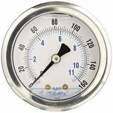Liquid Filled Pressure Gauge 0 160 Psi 15 Face 18 Npt Back Mount