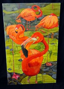 """Vintage US Whimsical Acrylic Painting """"The Four Flamingos"""" by Laura Norton (ScD)"""