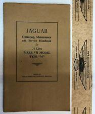 """Betriebsanleitung Jaguar Mk VII """"M"""",3.5 Lt, original, sehr guter Zustand"""