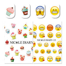 2Pcs Nail Art Water Decals Cake Dessert Facial Expression Transfer Stickers Tips