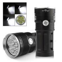 Black/Gold 12 x CREE XM-L T6 LED  32000LM Torch 4 x 18650 Lamp Flashlight